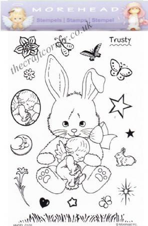 Bunny & Angel 18 Clear Rubber Stamp Set From Morehead